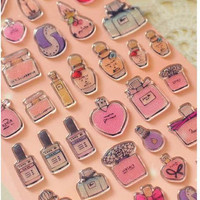 Perfume bottle Sticker Glitter pink bottle 3D Sticker mini glass bottle kawaii princess sticker diy epoxy pendant resin pendant scrapbook