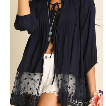 Midnight Blue Lace Front Tie Cardigan