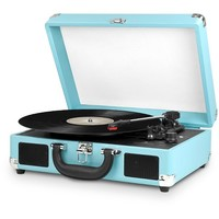 Innovative Technology 3 Speed Vinyl Turntable Suitcase with Built in Speakers - Turquois with White Felt (ITVS-550-T)