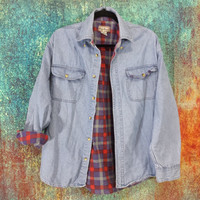 Flannel Lined Denim Shirt Jacket Vintage 90s Grunge Plaid Worn Distressed Faded Long Sleeve Cotton Collar Button Front Top Size Large