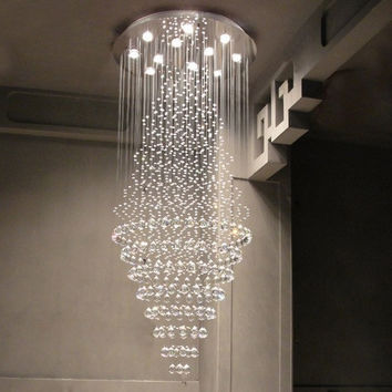 D40/50/60Cm Remote Control Luxury K9 Crystal Chandelier Light Stainless Steel Pendente De Teto Hotel Hall Chandelier Lighting