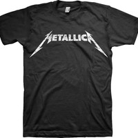 Featuring The Metallica Logo print on front, around neckline, short sleeves.