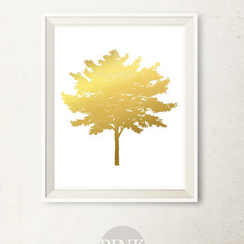 Gold Foil art print, Faux Gold Foil Print, Tree art print Gold printable art, Printable wall art Bedroom decor gold wall decor PRINTABLE ART
