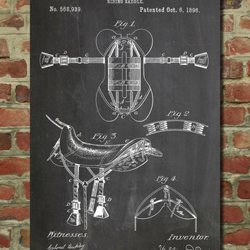 Horse Saddle Patent Wall Art Poster