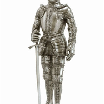 Medieval Knight in Armor with Sword Statue Replica 13H