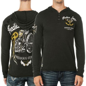 Affliction Indian Larry Shaman Long Sleeve Hooded T-Shirt - Military Green Lava Wash