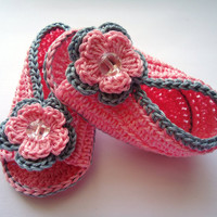 "Crochet Baby sandals, Summer sandals, Custom baby shoes, Fashion baby, Baby accessories with 2 layer flower - Up to 12 cm (4.7"")"