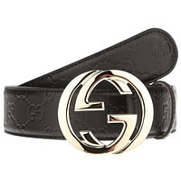 NEW GUCCI INTERLOCKING LARGE G BUCKLE BLACK SIGNATURE LEATHER BELT 110/44
