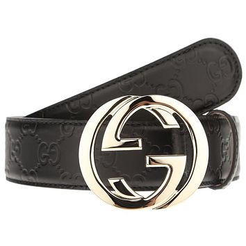 NEW GUCCI INTERLOCKING LARGE G BUCKLE BLACK SIGNATURE LEATHER BELT 105/42