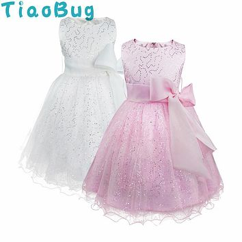 TiaoBug Pink White Flower Girl Dresses Kids Sequined Bowknot Princess Festive Party Dress Communion Dresses Ball Prom Gown