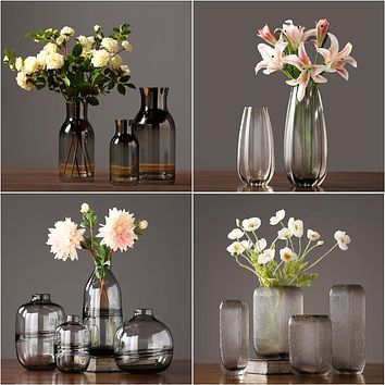 Modern glass vase Crafts terrarium glass containers Tabletop  flower vase