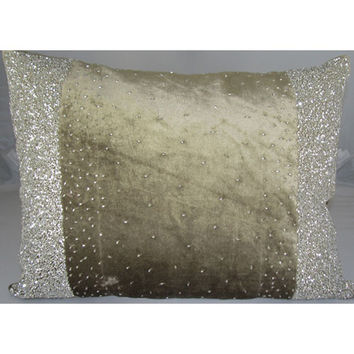 Design Accents KSS-0112 Border Beads LtBrown Border Beads Velvet Light Brown 14 x 20 Decorative Pillow