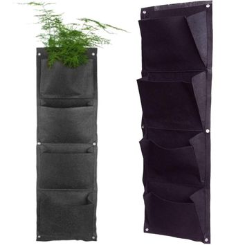 Grow Bag 4 Pockets Planter Black Vertical Garden Wall-mounted Planting Flower Vegetable Living Garden Home Supplies 96*30cm