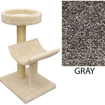 "Two  Level Cat House -Cradle & Perch - Gray (Gray) (37""H x 26""W x 20""D)"