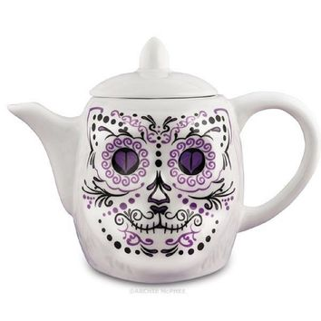 Lucky Cat Skull Decorative Porcelain Teapot in Violet and White