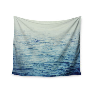 "Debbra Obertanec ""Foggy Morning Ocean"" Coastal Blue Wall Tapestry"
