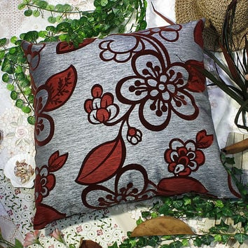[Darkred Plum Blossom] Decorative Pillow Cushion / Floor Cushion (23.6 by 23.6 inches)