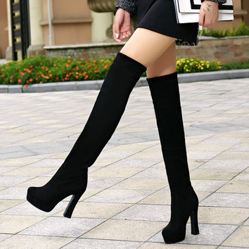 Fashion Nice over-the-knee Women Shoes Women Boots Tall Long Boots Ultra High Heels Platform Thick Heel 25-62 Plus Size Shoes