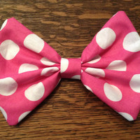 Minnie Mouse / Pink Polka Dot Fabric Bow Hair by bowerbirdemporium