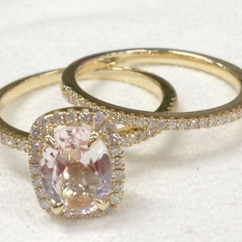 Morganite Wedding Ring Set!Diamond Engagement Ring 14K Yellow Gold,6x8mm Oval Cut Morganite,Claw Prongs,Stackable Matching Band,Bridal ring