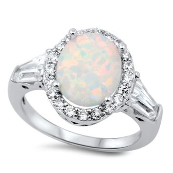 Choose Color Womens Cocktail Ring Rhodium Plated Sterling Silver Halo Cocktail Ring Simulated Opal CZ