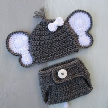 Baby Boy Elephant Hat And Diaper Cover Set Newborn Photo Prop