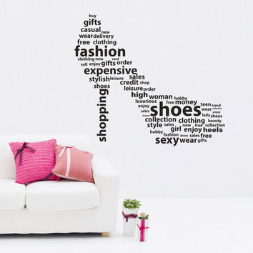 I191 Wall Decal Vinyl Sticker Art Decor Design  shoes heels height legs beautiful woman shopping shopping evening Living Room Bedroom