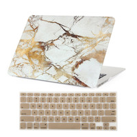 "MacBook Air 13 Inch Marble Case Soft-touch Hard Shell Case Cover for Macbook Air 13.3"" Inch (Model: A1369 and A1466) + Keyboard Cover (Gold)"