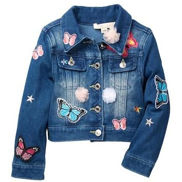 BABY SARAH | Denim Jacket + Patches and Fuzzy Trim