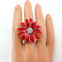 Christmas Ring Poinsettia Ring Red Holiday Flower Ring Ugly Sweater Jewelry
