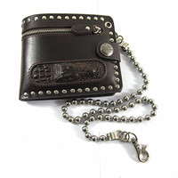 Men's Crocodile Head Leather Studded Wallet With Chain