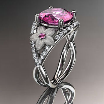 14kt white gold diamond floral engagement ring ADLR167 3.50ct pink topaz