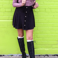 Sweet Beginnings Black Micro Suede Skater Skirt With Button Up Detail