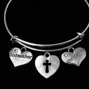 Christening Gift Godmother Heart Shaped Cross Adjustable Bracelet Expandable Silver Charm Bangle