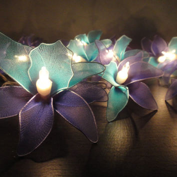 Battery Powered LED 20 Blue-Deep blue-Orchid Flower Fairy String Lights Wedding Party Floral Home Decor 4m.