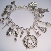 Supernatural Inspired Charm Bracelet Dean Sam Devils Trap Protection