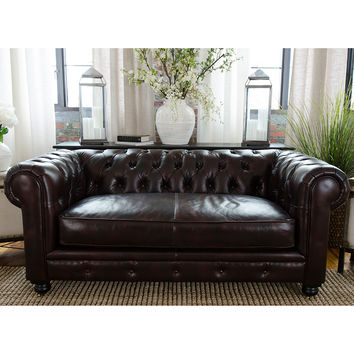 Estate Chesterfield Style Top Grain Leather Loveseat Saddle