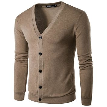 2017 Autumn New Men's Sweaters Brand Solid Color V Neck Knitting Cardigan Sweaters Men Casual Slim Fit Knitwear Pull Homme S-XXL