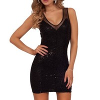 Fitted Sequins Mini Classy Bodycon Clubwear Mesh Party Cocktail Tight Dress