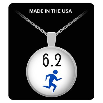 6.2 10k Marathon Runners Silver Round Pendant Necklace Women's Gifts Jewelry