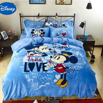 Blue Mickey Minnie Mouse 3D Printed Flannel Bedding Set Twin Full Queen Size Bed Covers Children's Babys Bedroom Decor Soft Warm