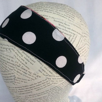 Reversible Fabric Headband - Girls Headband - Teen Headband - Womens Headband - Polka Dot Headband - Black White Pink Headband - Birds