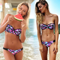 Strapless Floral Push Up Padded Bikini Set Swimwear Swimsuit