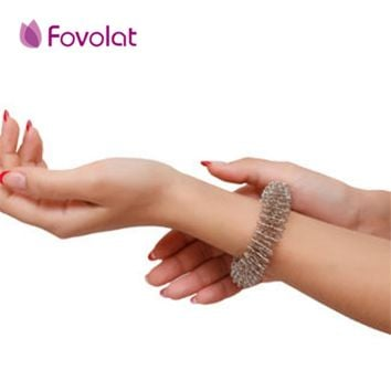 Acupuncture Bracelet Wrist Massager Supplies Relaxation Stainless Steel Wrist Hand and finger Massage Ring Health Care Tool