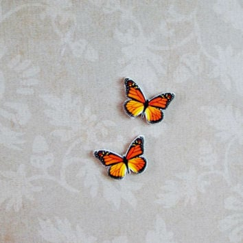 small monarch butterfly stud earrings post earrings great gift idea