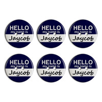 Jaycob Hello My Name Is Plastic Resin Button Set of 6