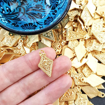 Arrow Shield Spear Head Spike Charms Tribal Ethnic 22k Matte Gold Plated Turkish Jewelry Making Supplies Findings Components - 8pc
