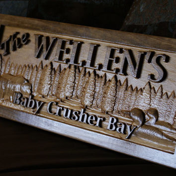 Personalized Cabin Sign Wood Plaque Custom Carved 3D Bear Loons Wooden Signs Last Name Décor Plaque 3D Lake House Cottage Rustic Lakehouse