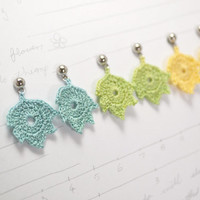 pastel crochet leaf earrings - autumn jewelry