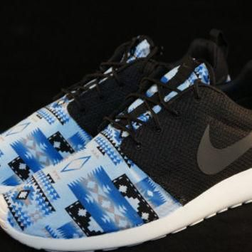 New Nike Roshe Run Custom Blue White Black Tribal Aztec Edition Mens Shoes Sizes 8 - 1